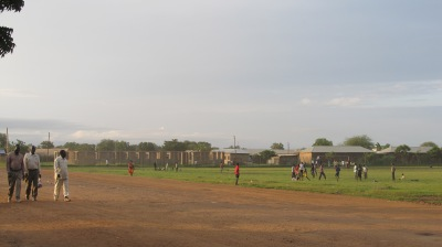 Diocese of Malakal compound: the under-construction cathedral is on the left, the school is in the middle, and the diocesan offices are on the far right
